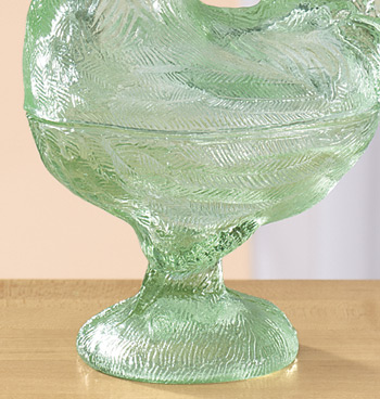 Green Depression Style Glass Rooster Candy Jar - View 4