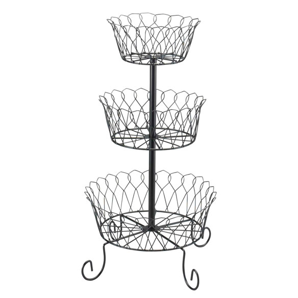 Black Tiered Fruit Basket - View 3