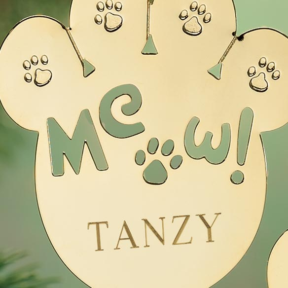 Personalized Meow Brass Ornament - View 2