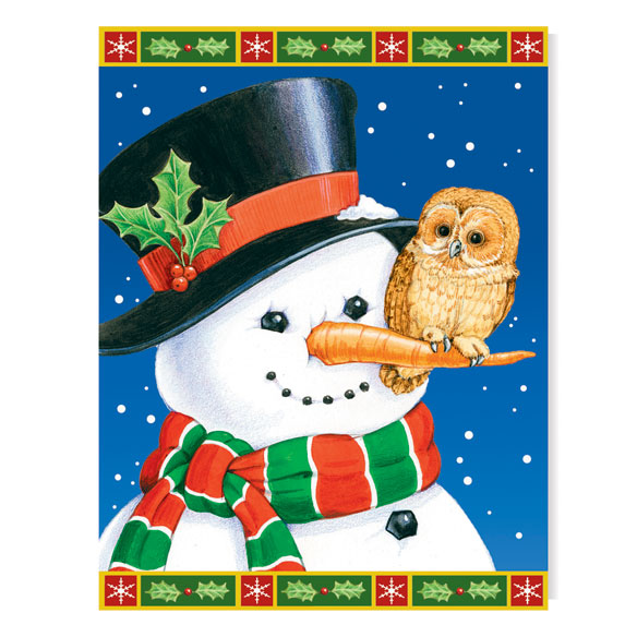 Snowman and Owl Unpersonalized Card Set of 20 - View 2