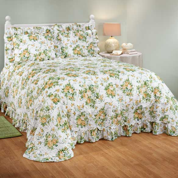 Ribbons & Roses Floral Plisse Bedding - View 3