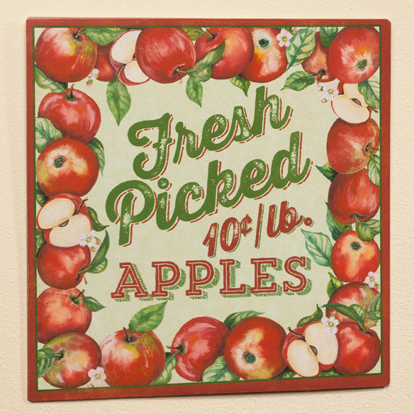 12 x 12 Fresh Picked Apples Metal Wall Plaque - View 2