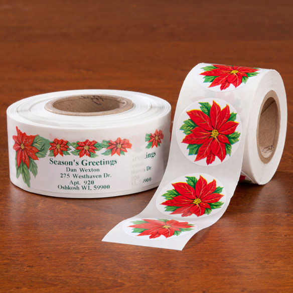 Poinsettia Labels And Seals - Sets of 250