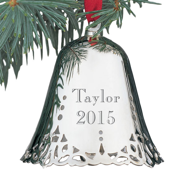 Personalized Silver Bell Ornament