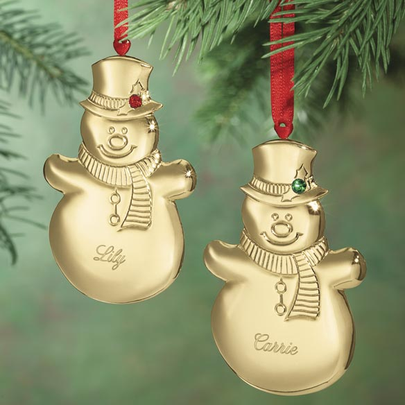 Personalized Snowman Birthstone Ornament