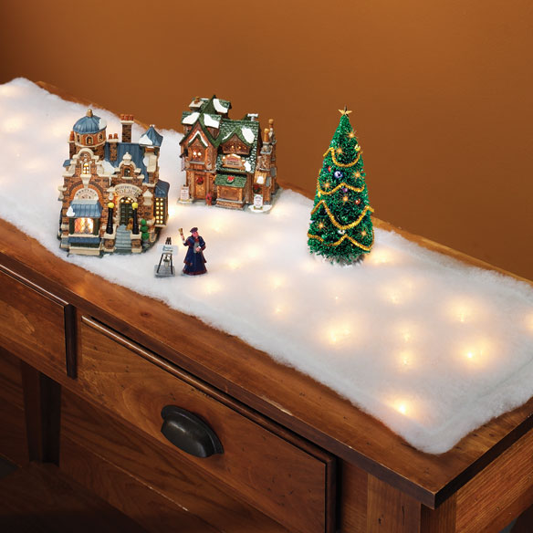 Lighted Snow Table Runner