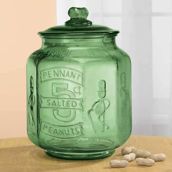Green Depression Style Glass Large Peanut Jar - View 1