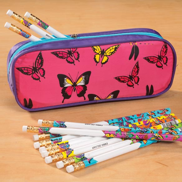 Personalized Butterfly Pencil Case Set