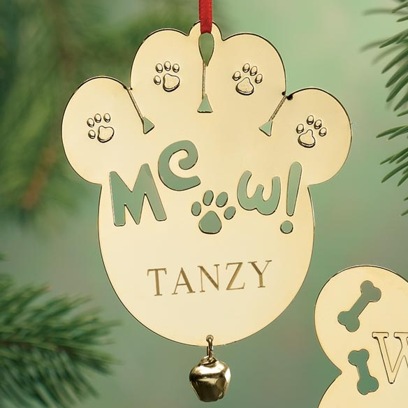 Personalized Meow Brass Ornament - View 1