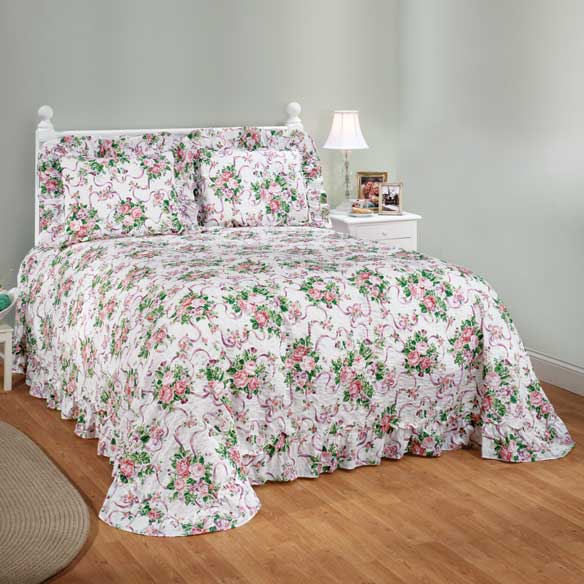 Ribbons & Roses Floral Plisse Bedding - View 1