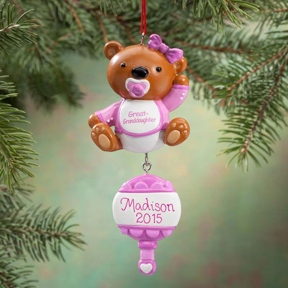 Personalized Great Granddaughter Bear Ornament