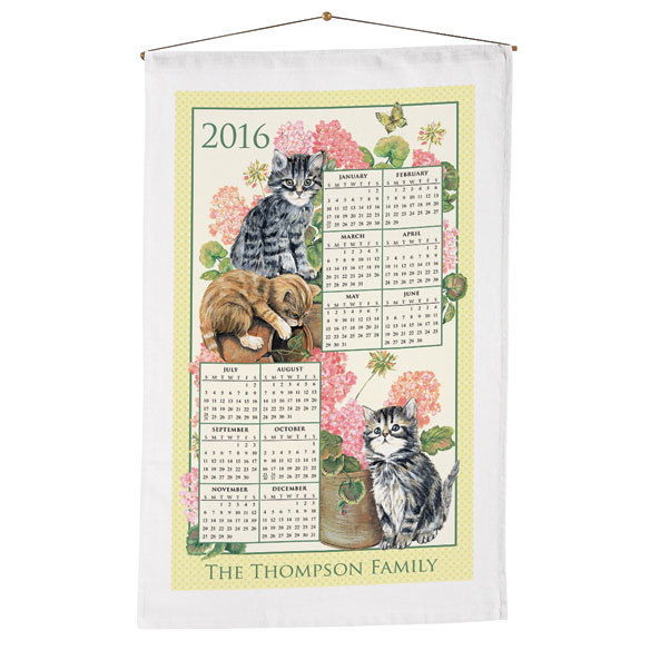 Personalized Curious Kittens Calendar Towel