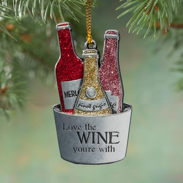 Pewter Wine Trio Ornament