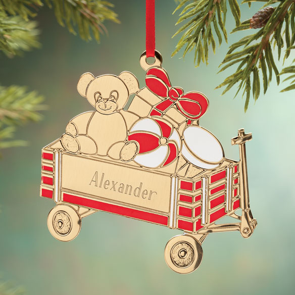 Personalized Teddy Bear Wagon Ornament